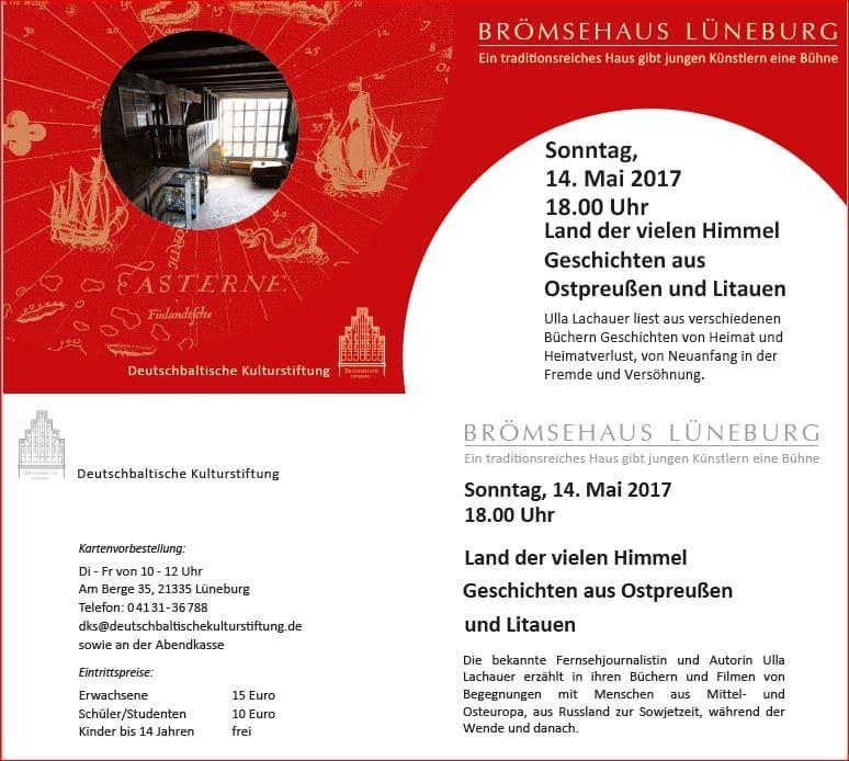 Einladung zur Lesung mit Ulla Lachauer ins Lüneburger Brömsehaus